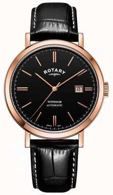 Rotary Reloj para hombre windsor caja dorada correa de cuero esfera negra GS05319/04