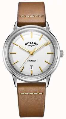 Rotary Reloj para hombre avenger correa plateada de cuero tono plateado GS05340/02
