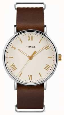 Timex Hombres 41mm southview correa de cuero marrón correa de color crema TW2R80400