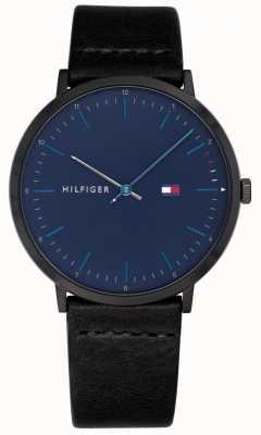 Tommy Hilfiger Reloj james para hombre correa de cuero negro esfera azul 1791462