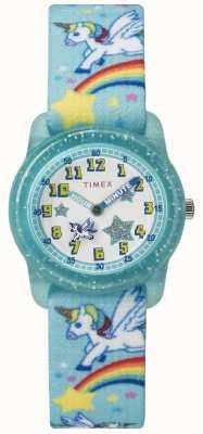 Timex Youth analog 28mm teal rainbow unicornio TW7C256004E