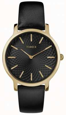 Timex Womens skyline 34mm correa de cuero negro esfera negra TW2R36400
