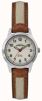 Timex Esfera natural de piel de mininocina TW4B11900