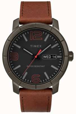 Timex Mens mod 44 tan correa de cuero negro esfera TW2R64000