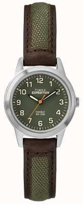 Timex Campo mini ceja verde esfera de cuero TW4B12000