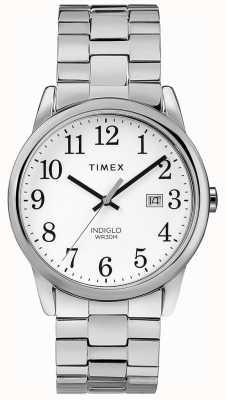 Timex Banda de acero inoxidable para hombre de 38 mm con esfera expandible esfera blanca TW2R58400