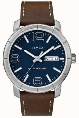 Timex Correa de cuero marrón para hombre mod 44 azul TW2R64200