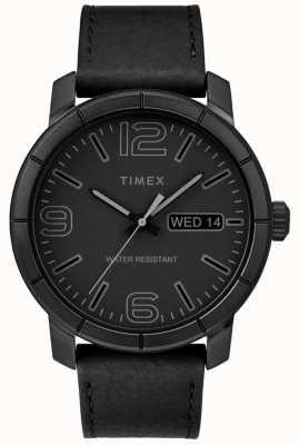 Timex Correa negra de cuero negra para hombre mod 44 TW2R64300