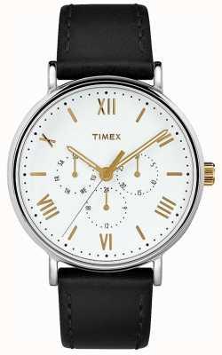 Timex Hombres 41mm southview correa de cuero negro esfera blanca TW2R80500