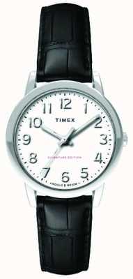 Timex Correa de croc negra fácil de lectura para mujer 30mm dial blanco TW2R65300