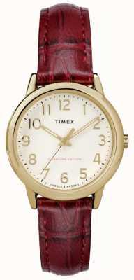 Timex Para mujer 30mm easy reader borgoña croc correa correa marca TW2R65400