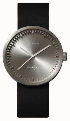 Leff Amsterdam Reloj de tubo d38 caja de acero correa de cuero negro LT71001