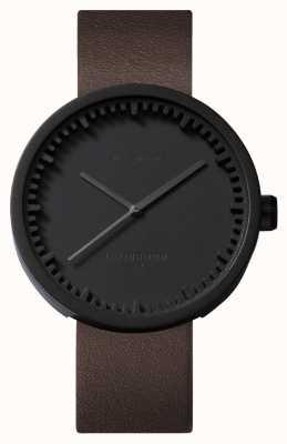 Leff Amsterdam Reloj de tubo d38 black case correa de cuero marrón LT71012
