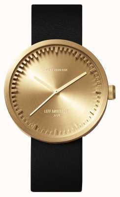 Leff Amsterdam Reloj de tubo d38 caja de latón correa de cuero negro LT71021