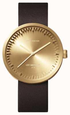 Leff Amsterdam Reloj Tubo d38 caja de latón correa de cuero marrón LT71022