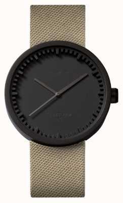 Leff Amsterdam Reloj de tubo d42 correa negra correa de cordura de arena LT72013