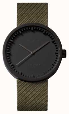 Leff Amsterdam Reloj tubular d42 caja negra correa verde cordura LT72014