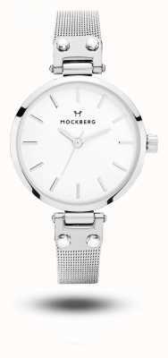 Mockberg Elise pequeña malla de acero inoxidable pulsera esfera blanca MO402