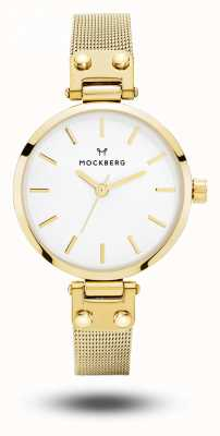Mockberg Livia petite gold pvd plateado malla pulsera esfera blanca MO401