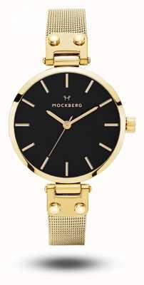 Mockberg Livia petite noir gold pvd chapado en malla pulsera esfera negra MO403