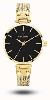 Mockberg Pulsera de malla dorada livia petite noir para mujer esfera negra MO403