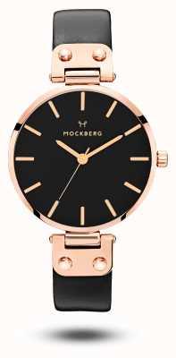 Mockberg Sigrid correa de cuero negro pvd plateado oro rosa negro MO110