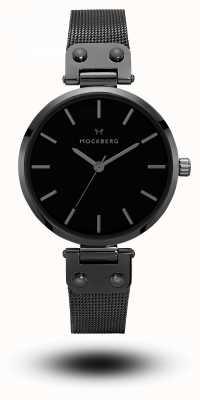 Mockberg Lio negro pvd plateado malla pulsera esfera negra MO305