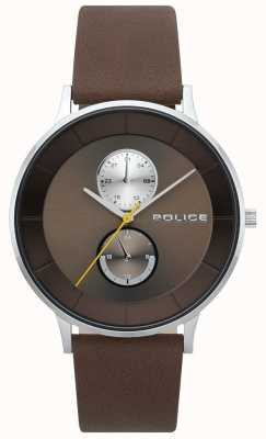 Police Reloj berkeley de cuero marrón con correa para hombre 15402JS/12