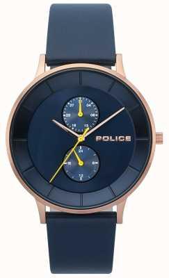 Police Reloj de hombre berkeley correa de cuero azul 15402JSR/03