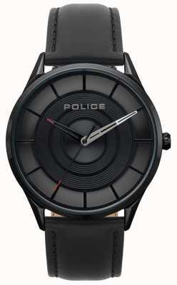 Police Reloj de cuero negro burbank para hombre, negro ip 15399JSB/02