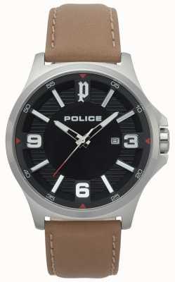Police Reloj de cuero marrón claro de clan mens 15384JS/02