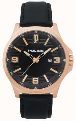 Police Reloj de cuero negro clan para hombre 15384JSR/02