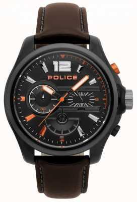 Police Reloj denver de cuero marrón oscuro para hombre 15403JSBU/02