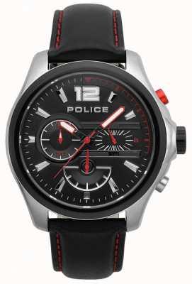 Police Reloj de hombre denver negro y correa de cuero rojo 15403JSTB/02
