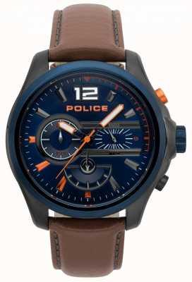 Police Reloj de cuero marrón para hombre denver 15403JSUBL/03