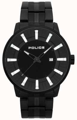 Police Reloj plateado pvd negro para hombre 15391JSB/02M