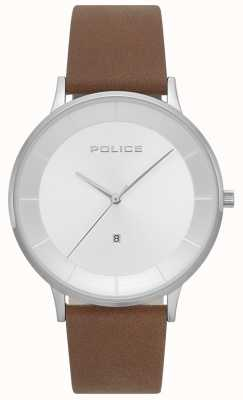 Police Reloj de hombre de cuero marrón fontana para hombre 15400JS/04