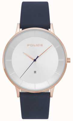 Police Reloj de hombre de cuero fontana azul plateado 15400JSR/04