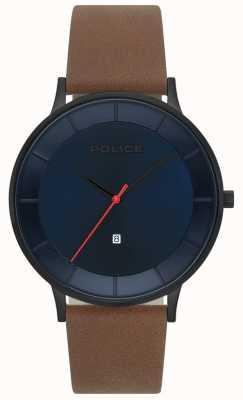 Police Reloj de hombre de cuero fontana marrón azul 15400JSU/03