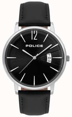 Police Reloj de cuero negro de hombre virtue 15307JS/02