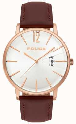 Police Reloj de cuero marrón para hombre 15307JSR/01
