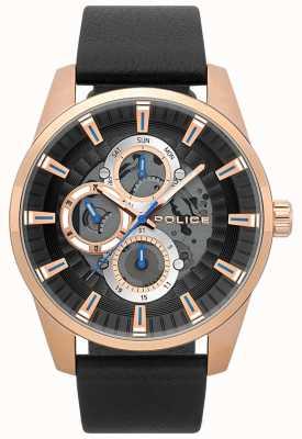 Police Reloj esqueleto de cuero negro para hombre stamford 15409JSR/02
