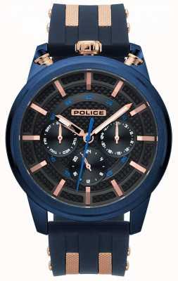 Police Reloj de pulsera de caucho azul upside para hombre 15414JSBL/61P