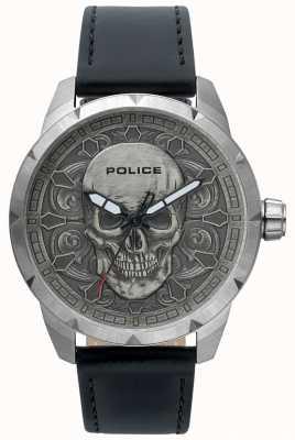 Police Mens cráneo místico dial negro reloj de cuero 15397JS/57