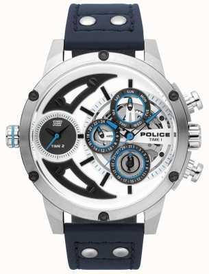 Police Mens guadaña azul cuero plata esfera blanca reloj 15406JS/04
