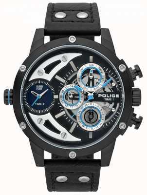 Police Reloj negro de cuero negro para hombre guadaña 15406JSB/02