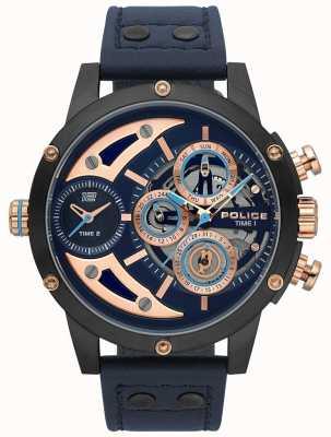 Police Reloj azul de cuero azul para hombre guadaña 15406JSU/03