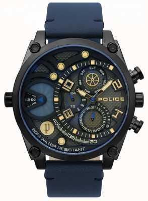 Police Reloj de correa de cuero azul vigor para hombre 15381JSB/61