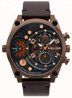 Police Reloj de pulsera de cuero marrón vigoroso para hombre 15381JSBZ/12
