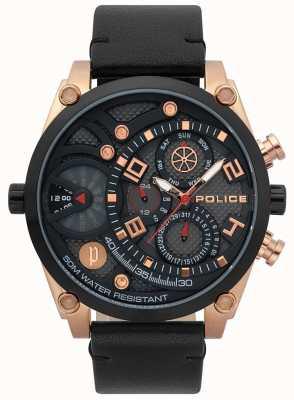 Police Reloj de correa de cuero negro vigor para hombre 15381JSRB/61